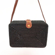 Load image into Gallery viewer, Black Rectangle Rattan bag