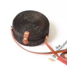 Load image into Gallery viewer, Black Round Rattan bag