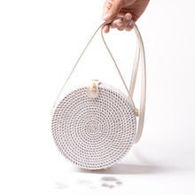Load image into Gallery viewer, White Round Rattan bag