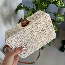 Load image into Gallery viewer, White Rectangle Rattan bag