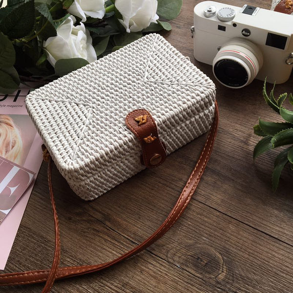 White Rectangle Rattan bag