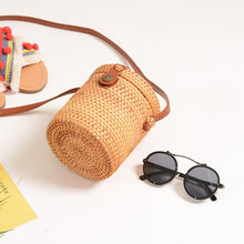 Load image into Gallery viewer, Cylinder Rattan Bag