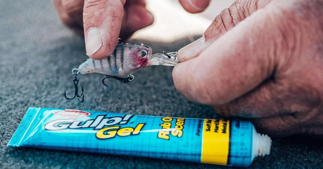 Gulp gel rub on scent being put onto a lure