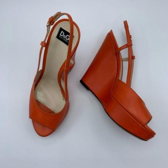Authentic D&G Orange Wedge Peep Toe Platforms - ReLuxe.