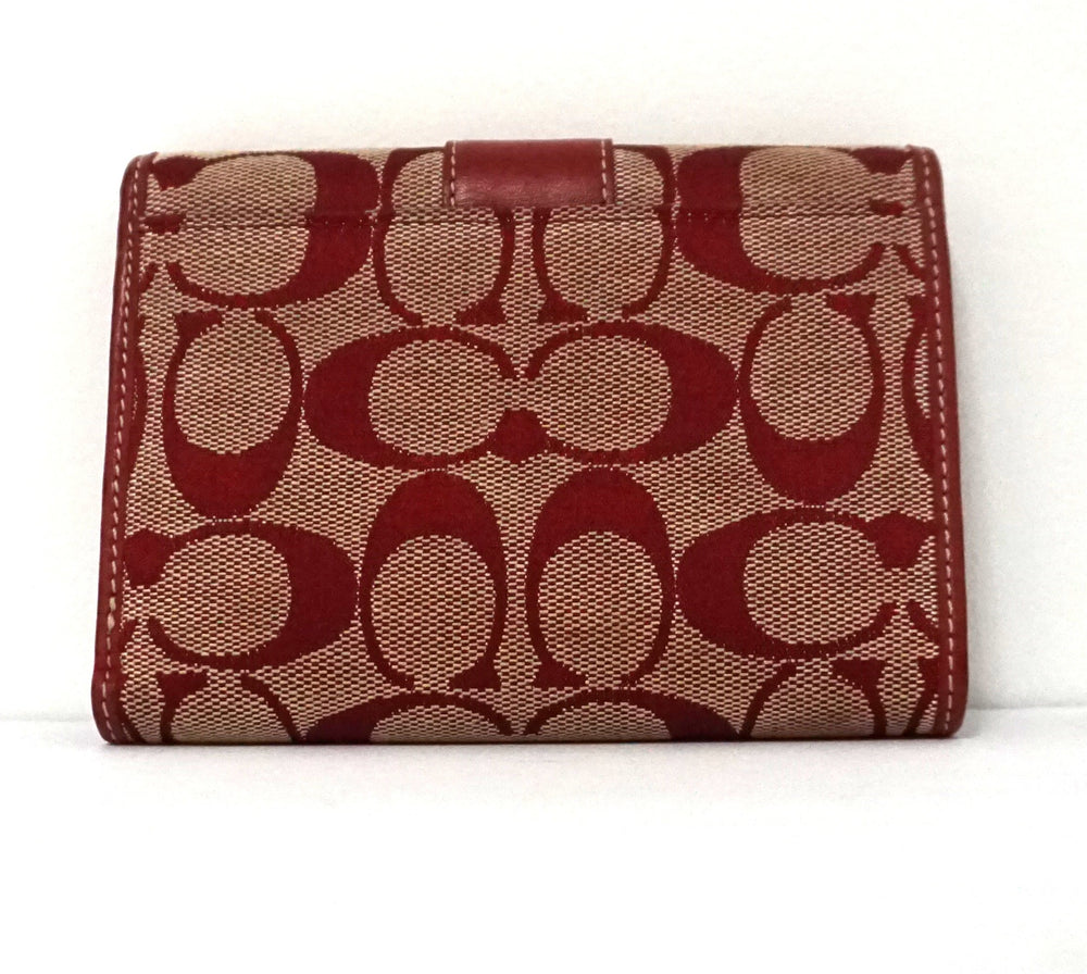 COACH Red Signature Monogram Medium Wallet