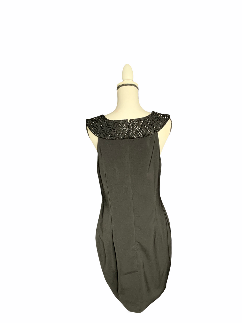 NWT BRUNYA Black mini dress with cleopatra style collar