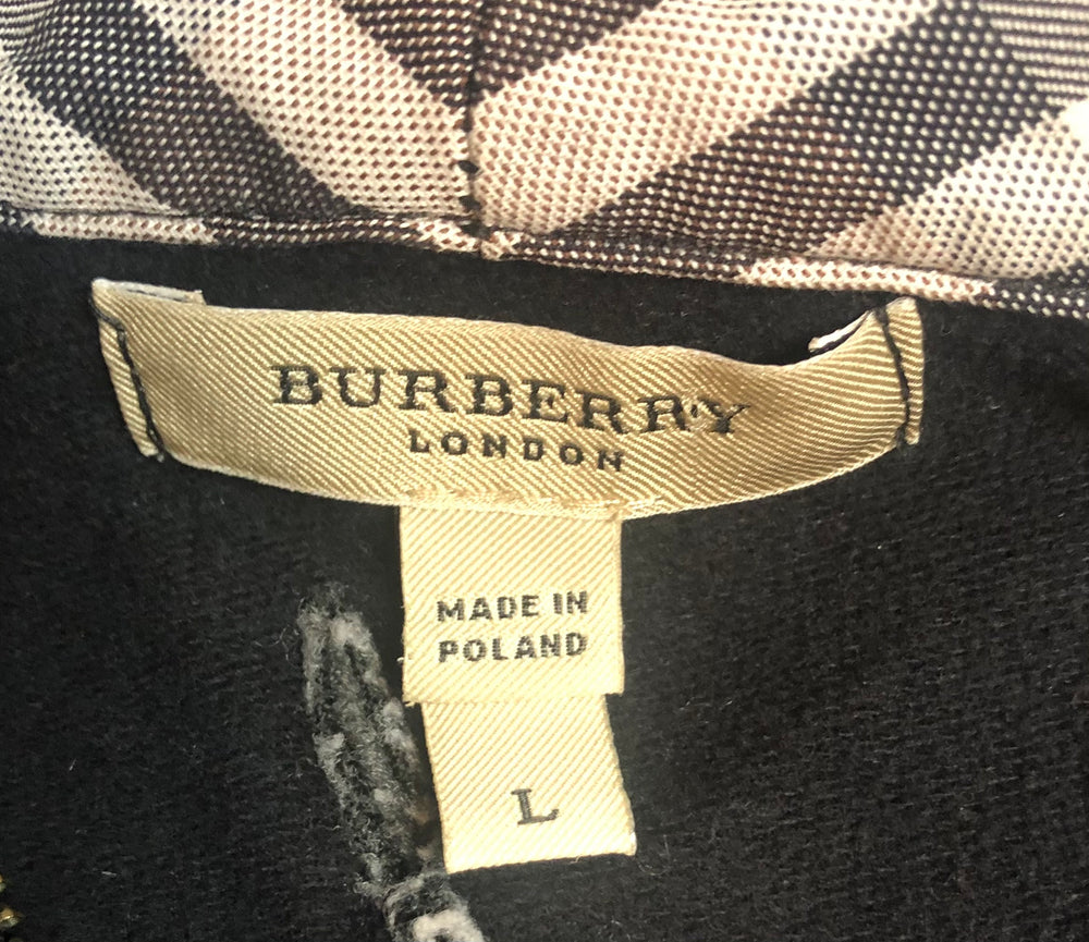 Burberry Zip Front Hoodie Black Size Large