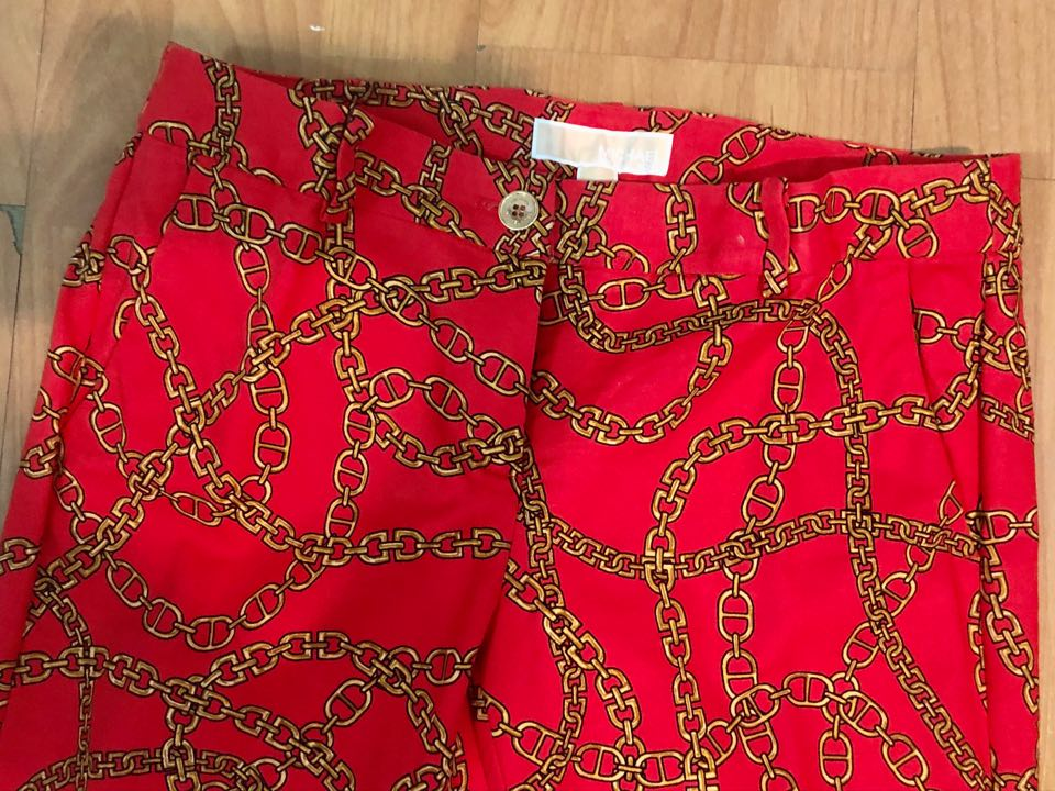 Michael Kors Red Pants w/ Gold Link Chain Pattern
