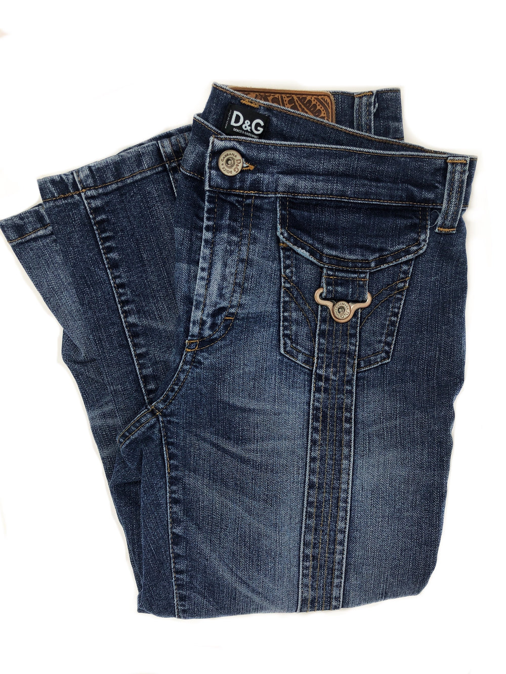 Y2K D&G Suspender Pocket Capri Jeans Like New - ReLuxe.