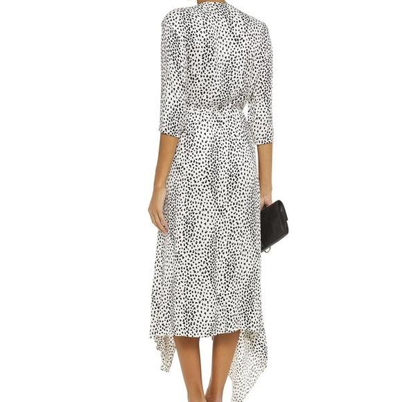 MAJE Asymmetric draped leopard-jacquard midi dress - ReLuxe.
