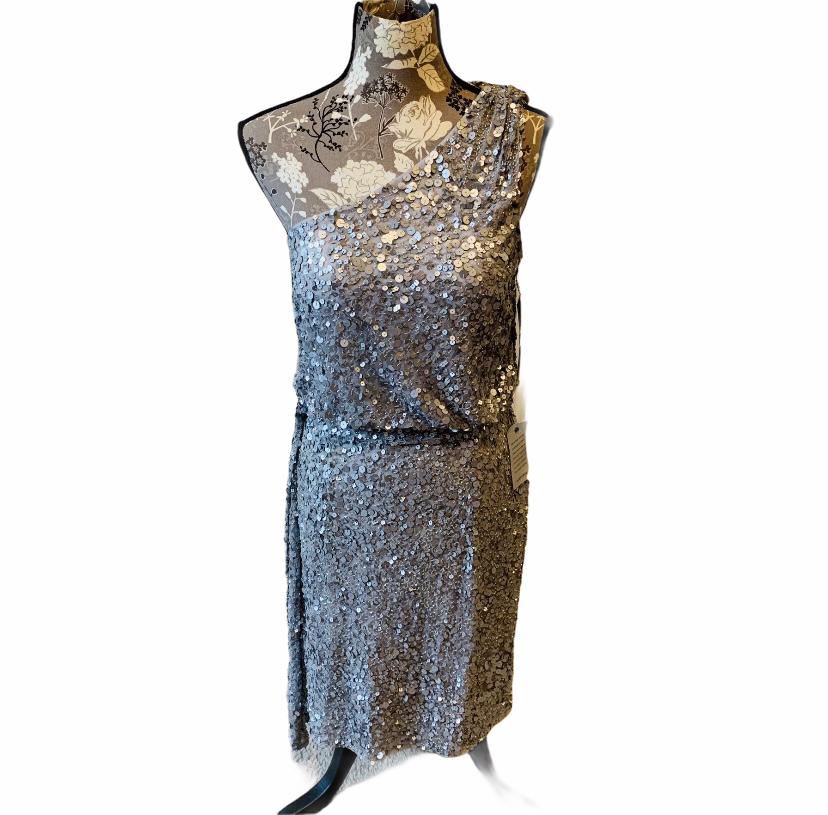 AIDAN MATTOX Silver Sequin One Shoulder Dress 12