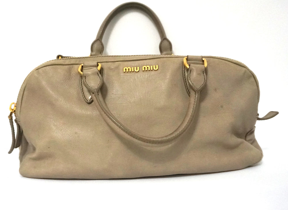 MIU MIU PALE GREEN GREY GLAZED TOP HANDLE SATCHEL