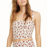 DANIELLE BERNSTEIN Floral Rose Bustier Cropped Tank Top Bralette NWT