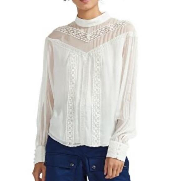 MAJE Ludmi Floral Lace woven top White button NWT - ReLuxe.
