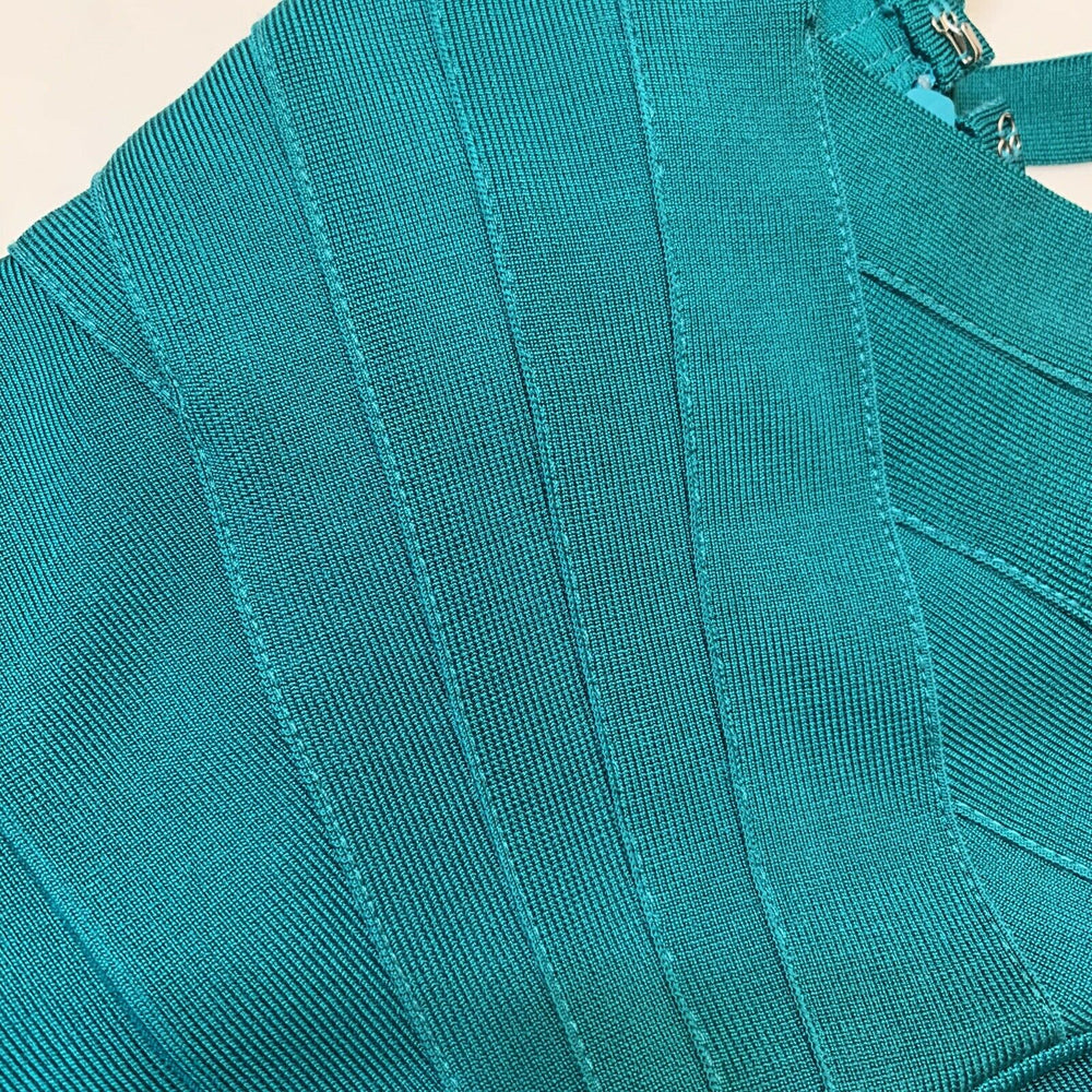 HERVÉ LÉGER Cutout bandage teal mini dress size medium $1015 - ReLuxe.