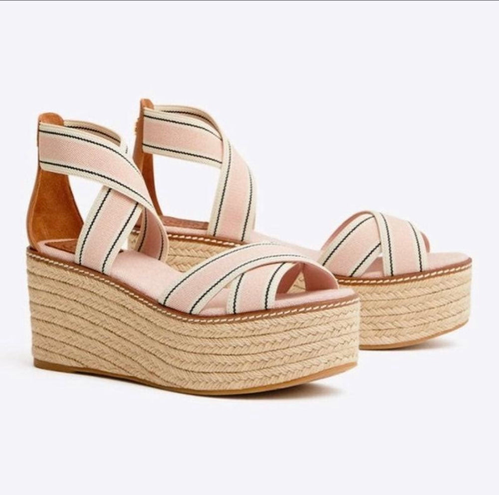 Tory Burch NIB Frieda Blush Pink Strappy Platform Wedge Espadrilles Size 8.5