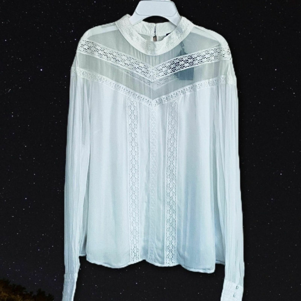 MAJE Ludmi Floral Lace woven top White button high neck, sheer lace panel NWT - ReLuxe.