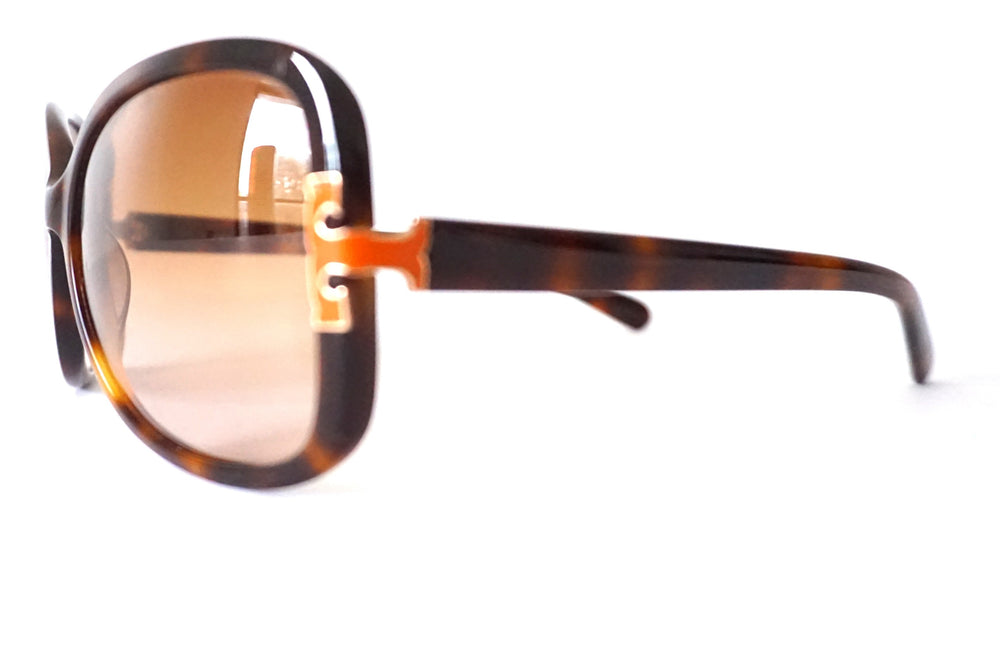 TORY BURCH T-LOGO ORANGE TORTOISE SHELL SUNGLASSES