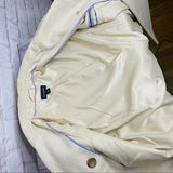 LANDS END Wool Pea Coat Cream Beige Fully Lined Double Breasted Winter Coat