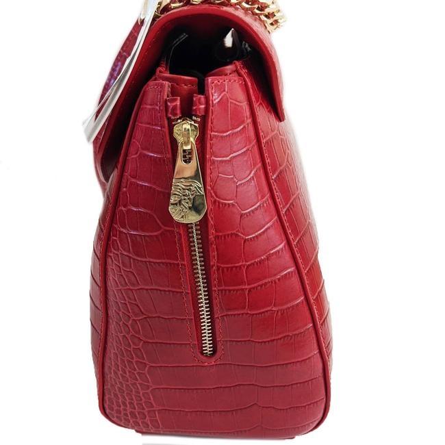VERSACE Red Leather Croc Embossed Satchel Bag NWT