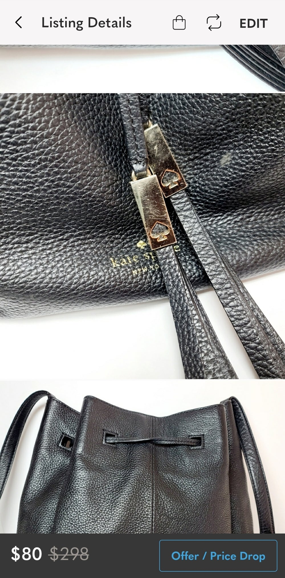 Kate Spade Black Pebbled Leather Bucket Bag