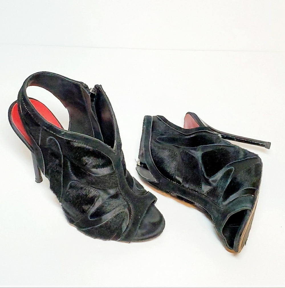 Charles Jourdan Black Heels Leather And Fur Sz 7.5