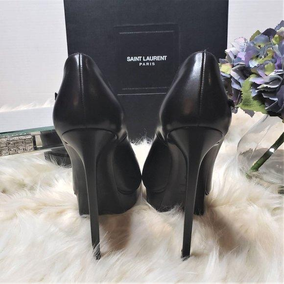 Saint Laurent Janis Ankle Strap Janis Mary Jane Heels in Black - ReLuxe.