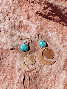 Blue Crescent Brass Earrings