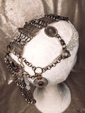 Vintage gypsy bronze and rhinestones headdress