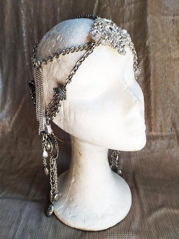 Vintage silver and rhinestones headdress