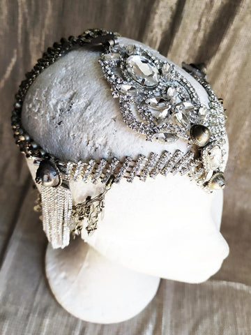 Vintage bronze and rhinestones headdress
