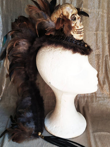 Mohawk skull headpiece - festival headdress