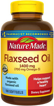 Load image into Gallery viewer, Nature Made® Flaxseed Oil Omega-3 1400 mg/700 mg Softgels 100ct.