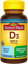 Load image into Gallery viewer, Nature Made® Vitamin D3 25mcg Tablets 100ct.