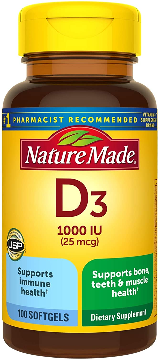 Nature Made® Vitamin D3 25mcg Tablets 100ct.