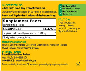 Nature Made® L-Lysine 1000mg Tablets 60ct.