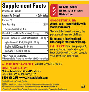 Nature Made® Flaxseed Oil Omega-3 1400 mg/700 mg Softgels 100ct.