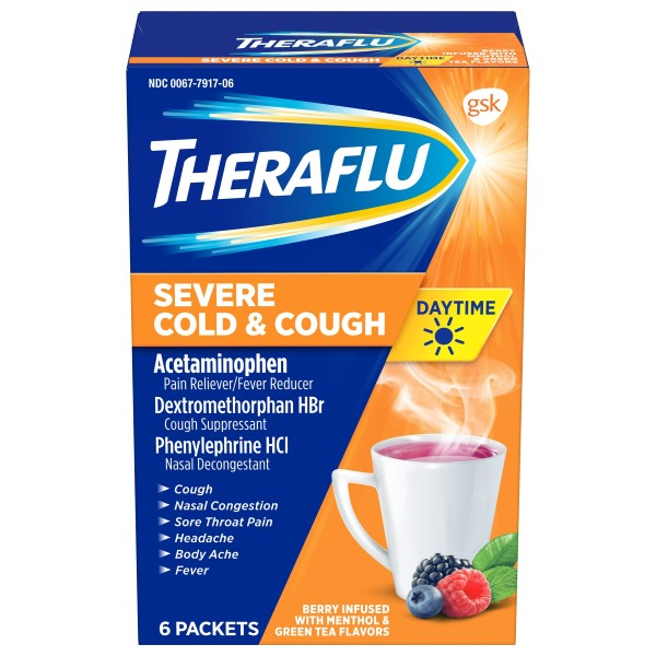 Theraflu Severe Cold & Cough Daytime Berry Infused Packets