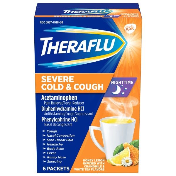 Theraflu Severe Cold & Cough Nighttime Honey Lemon Packets