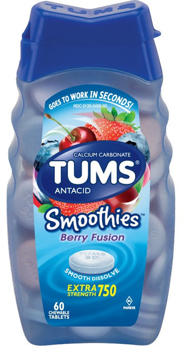 TUMS® Smoothies Berry Fusion Extra Strength 750 Antacid Chewable Tablets 60ct.