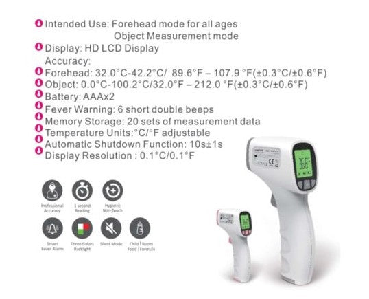 Forehead Thermometer, Non-Contact Infrared