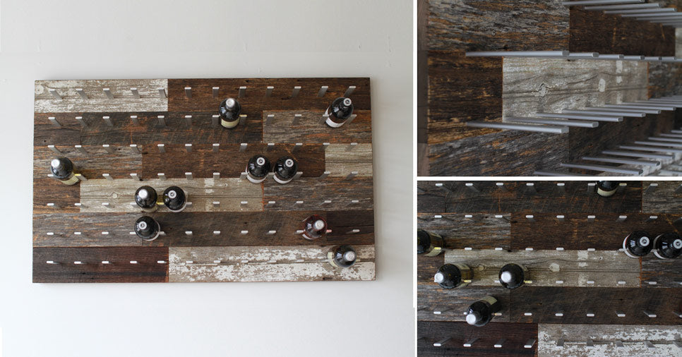Custom reclaimed wood wine wall rack by STACT