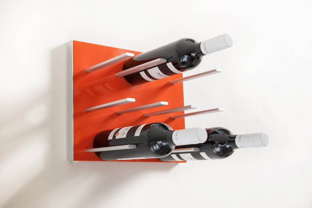 STACT wine racks in electric orange colour