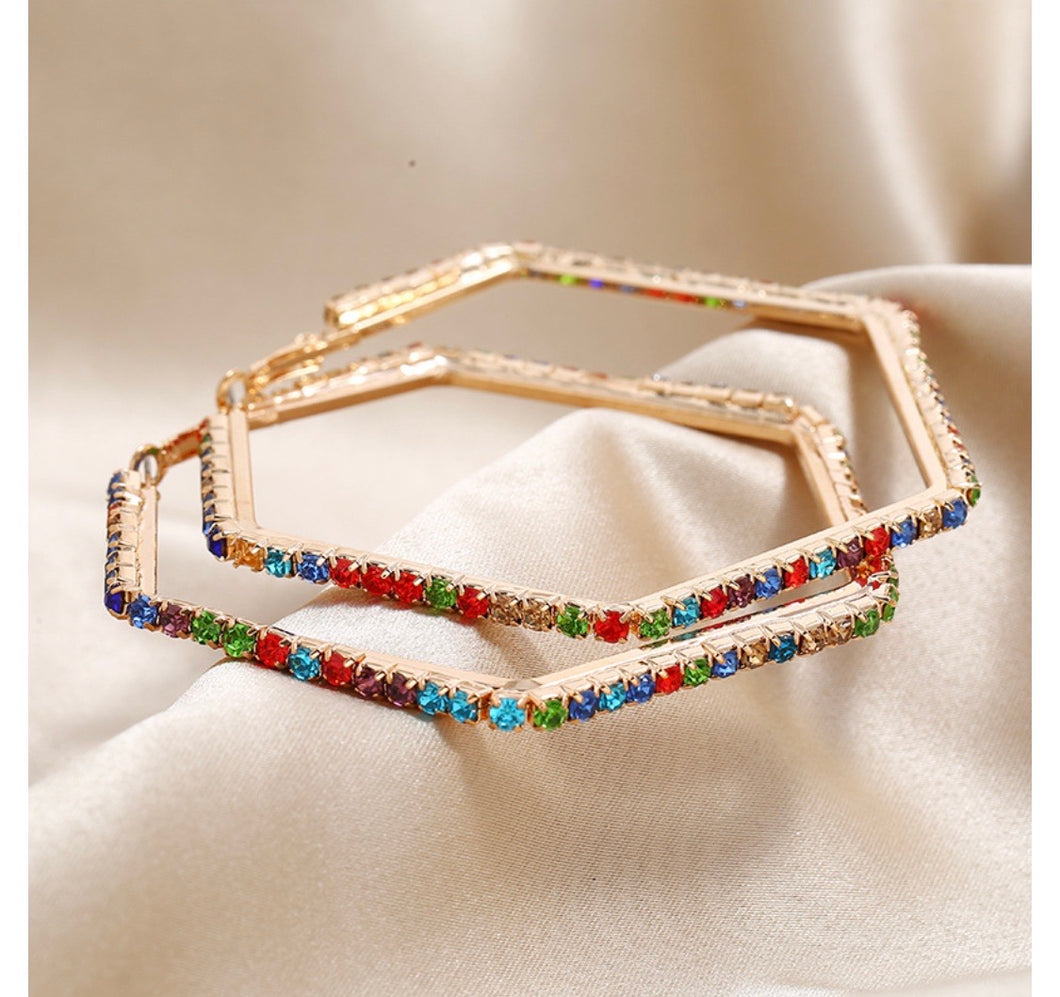 Rainbow bling hoops
