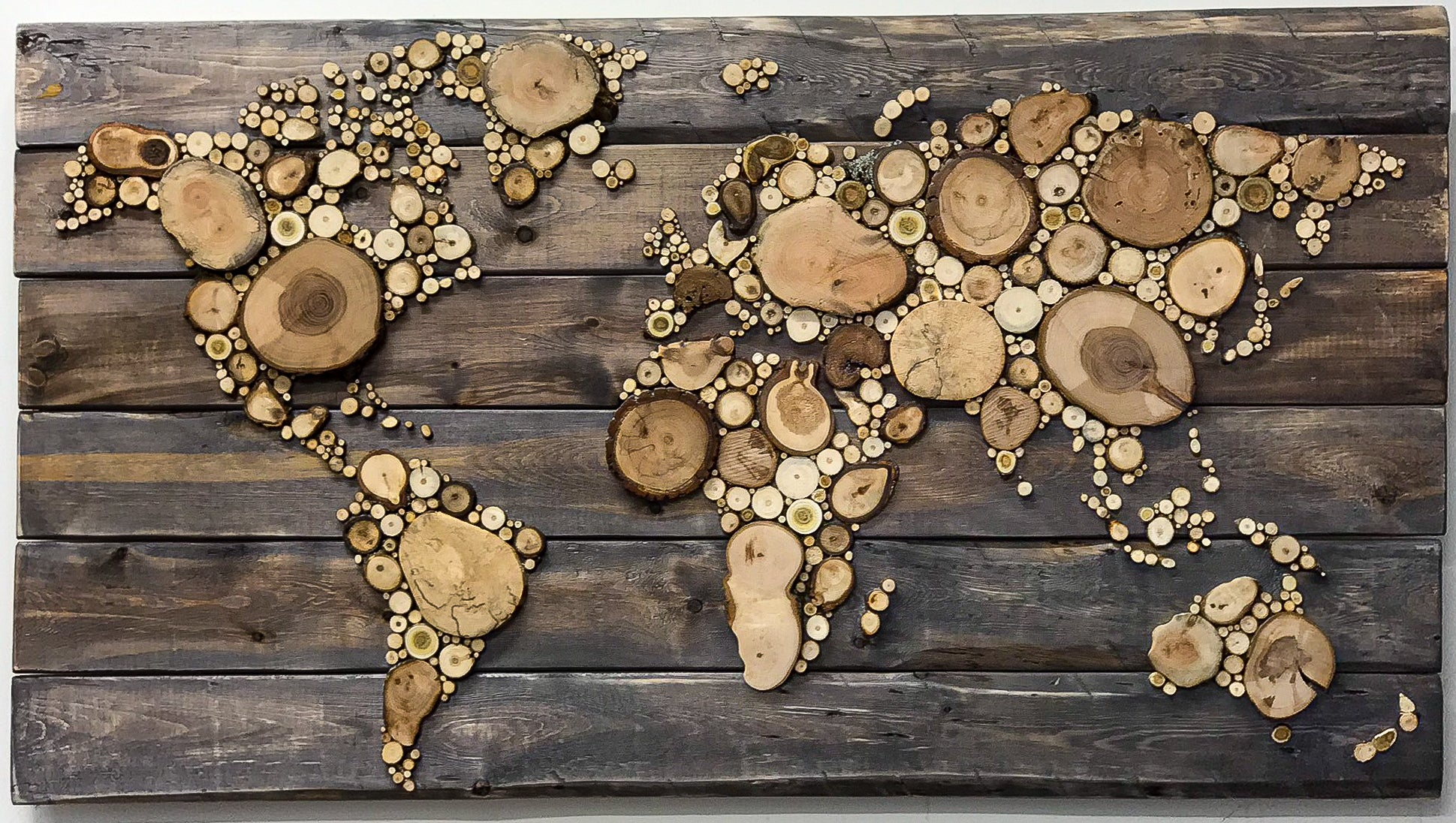 World Map - Large, Reclaimed Wood