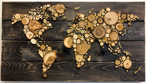 World Map - Medium, Reclaimed Wood
