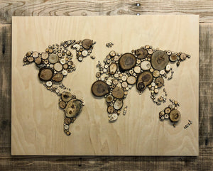 World Map - Medium, Veneer with Reclaimed Wood Frame