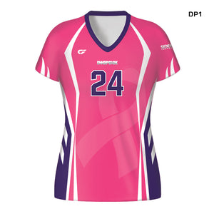 Women's Custom Fuse Dig Pink® Sublimated Cap Sleeve Volleyball Jersey