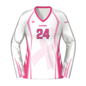 Women's Custom Fuse Dig Pink® Sublimated Long Sleeve Volleyball Jersey