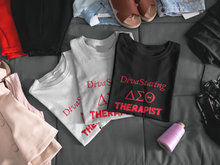 "Load image into Gallery viewer, ""DivaStating_Therapist"" Unisex Jersey T-Shirt by Bella + Canvas."